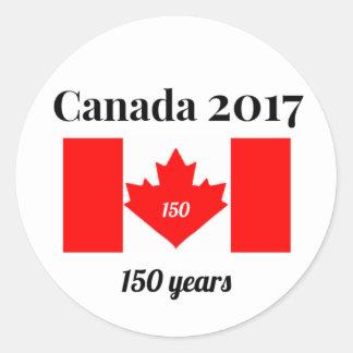 Adesivo Redondo Bandeira do coração de Canadá 150 em 2017