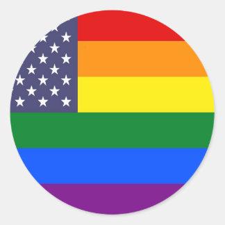 Adesivo Redondo Bandeira do orgulho do arco-íris dos E.U.