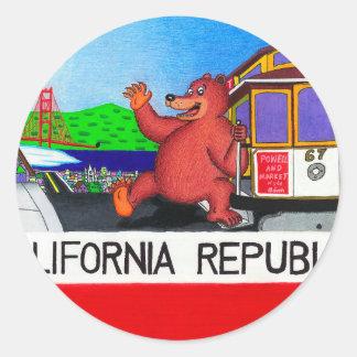 Adesivo Redondo Bandeira do urso de San Francisco Califórnia