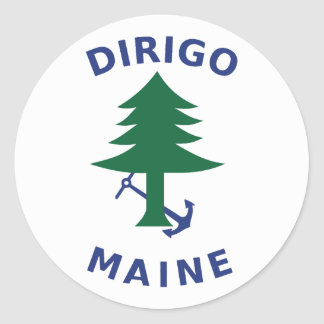 Adesivo Redondo Bandeira mercante e marinha de Maine
