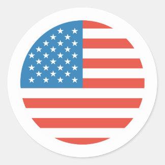 Adesivo Redondo Bandeira redonda dos EUA para eventos patrióticos