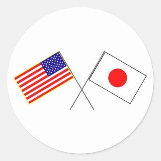 Adesivo Redondo Bandeiras dos EUA JAPÃO