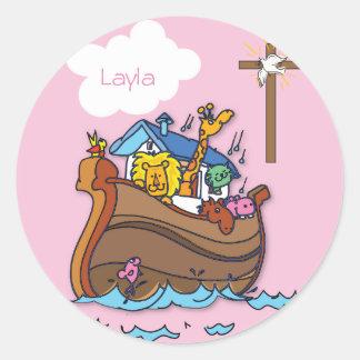 Adesivo Redondo Baptismo customizável do bebê da arca de Noah,