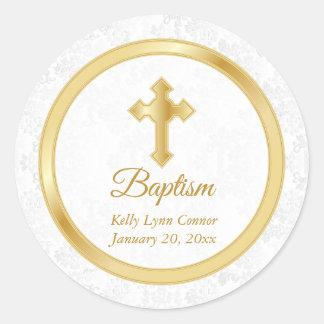 Adesivo Redondo Baptismo feito sob encomenda no damasco branco