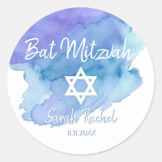 Adesivo Redondo Bar azul Mitzvah do bastão da estrela de David da