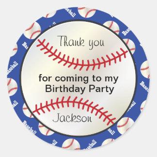 Adesivo Redondo Basebol da festa de aniversário em azul escuro -