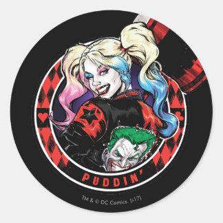 Adesivo Redondo Batman | Harley Quinn que pisc com malho
