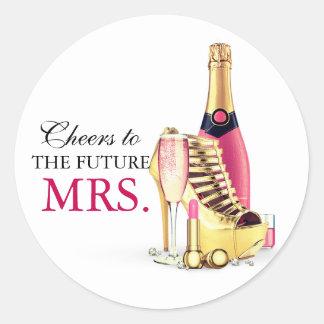 Adesivo Redondo Batom Bachelorette de Champagne do rosa do