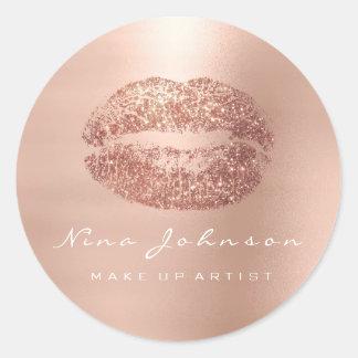 Adesivo Redondo Batom cor-de-rosa do ouro da beleza do maquilhador