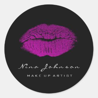 Adesivo Redondo Batom cor-de-rosa fúcsia do maquilhador dos lábios