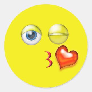 Adesivo Redondo Beijo Emoji do piscar os olhos