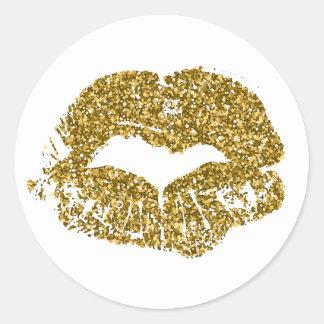 Adesivo Redondo Beijos do brilho do ouro