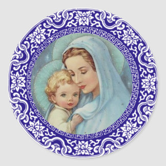 Adesivo Redondo Beira abençoada do azul de Jesus do bebê de Mary