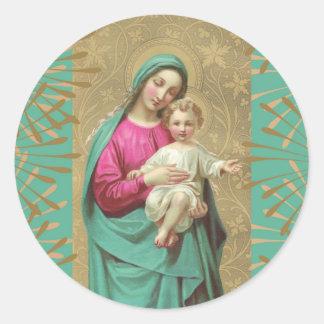 Adesivo Redondo Beira decorativa abençoada de Jesus do bebê da mãe
