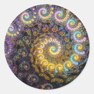 Adesivo Redondo Beleza do fractal do nautilus