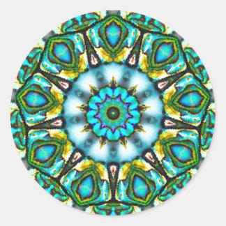 Adesivo Redondo Beleza surreal do Fractal de Paua Shell