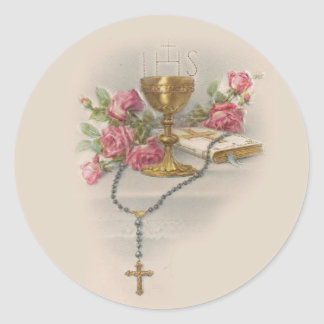 Adesivo Redondo Bíblia do cálice do Eucaristia do rosário do