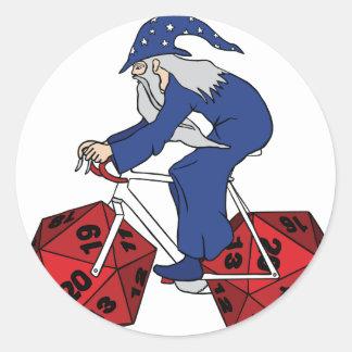 Adesivo Redondo Bicicleta da equitação do feiticeiro com as 20