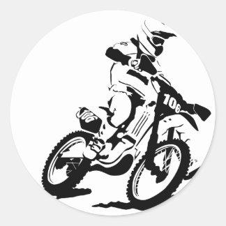 Adesivo Redondo Bicicleta e cavaleiro simples de Motorcross