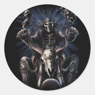 Adesivo Redondo Biker Skeleton