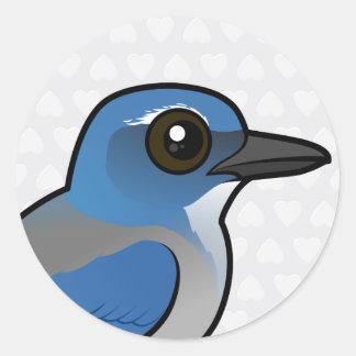 Adesivo Redondo Birdorable Woodhouses Esfregar-Jay