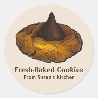 Adesivo Redondo Biscoito de manteiga Fresco-Cozido personalizado
