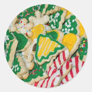 Adesivo Redondo Biscoitos de açúcar caseiros decorados do Natal do