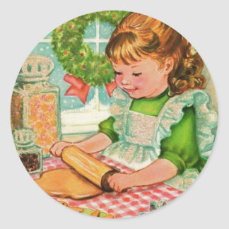 Adesivo Redondo biscoitos do cozimento da menina do natal vintage