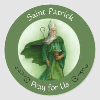 Adesivo Redondo Bispo católico de Patrick de santo