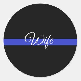 Adesivo Redondo Blue Line fino: Esposa da polícia