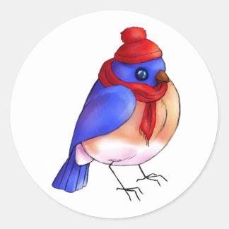 Adesivo Redondo Bluebird do inverno