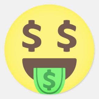 Adesivo Redondo Boca Emoji do dinheiro