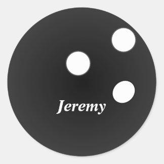Adesivo Redondo Bola de boliche preta, modelo customizável