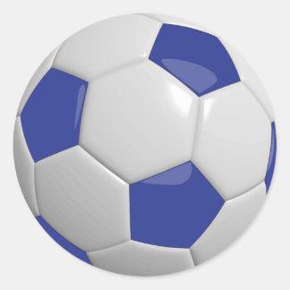 Adesivo Redondo Bola de futebol azul escuro e branca