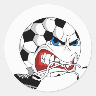 Adesivo Redondo Bola de futebol irritada