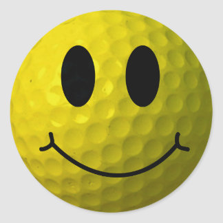 Adesivo Redondo Bola de golfe do smiley face