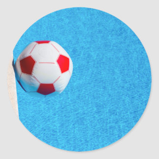 Adesivo Redondo bola de praia Vermelho-branca que flutua na