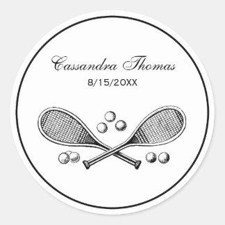 Adesivo Redondo Bolas de tênis cruzadas vintage da raquete de