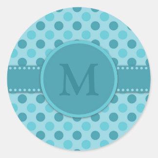 Adesivo Redondo Bolinhas azuis da cerceta do monograma