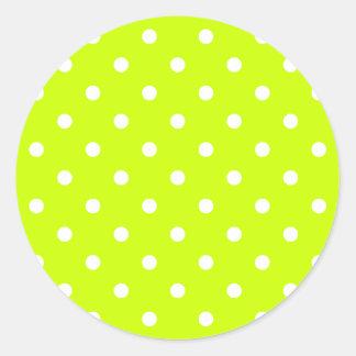 Adesivo Redondo Bolinhas pequenas - branco no amarelo fluorescente