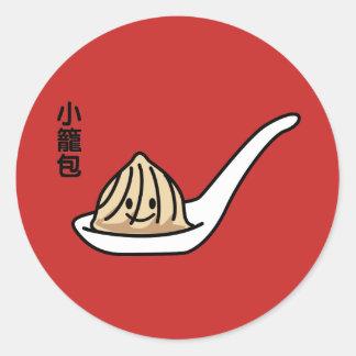 Adesivo Redondo Bolo chinês de Dim Sum da bolinha de massa da sopa