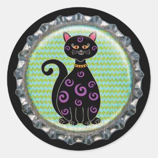 Adesivo Redondo Boné de garrafa lunático do gato do Dia das Bruxas