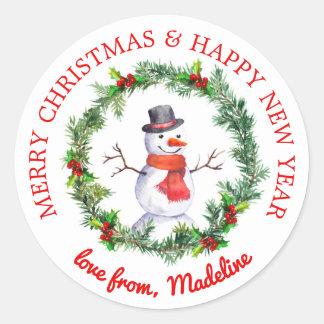 Adesivo Redondo Boneco de neve na grinalda do Natal