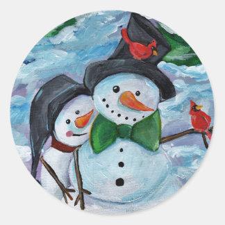 Adesivo Redondo Bonecos de neve de visita cardinais