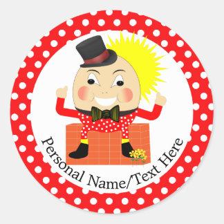 Adesivo Redondo Bonito da rima de berçário de Humpty Dumpty