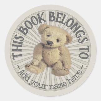 Adesivo Redondo Bookplate velho do urso de ursinho
