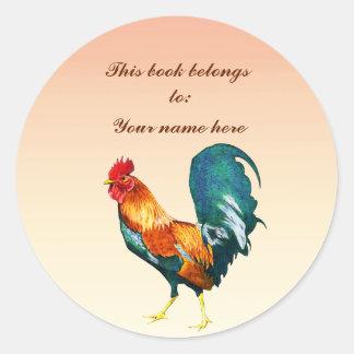 Adesivo Redondo Bookplate vermelho do animal do pássaro do galo