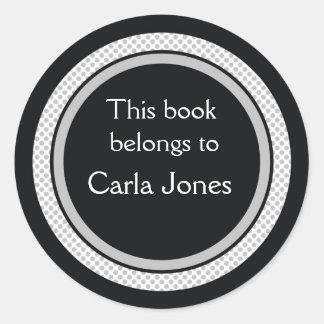 Adesivo Redondo Bookplates personalizados: Bolinhas pretas e