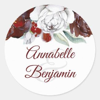 Adesivo Redondo Borgonha e flores brancas que Wedding