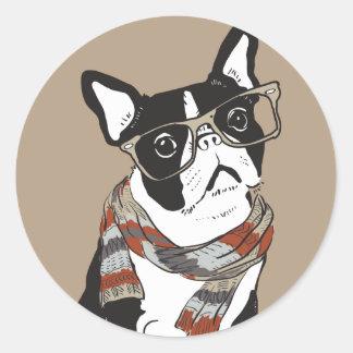 Adesivo Redondo Boston Terrier, animal do hipster, cão do hipster